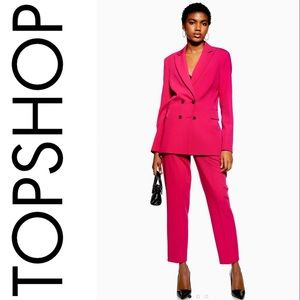 TOPSHOP Hot Pink Tapered Suit Trousers